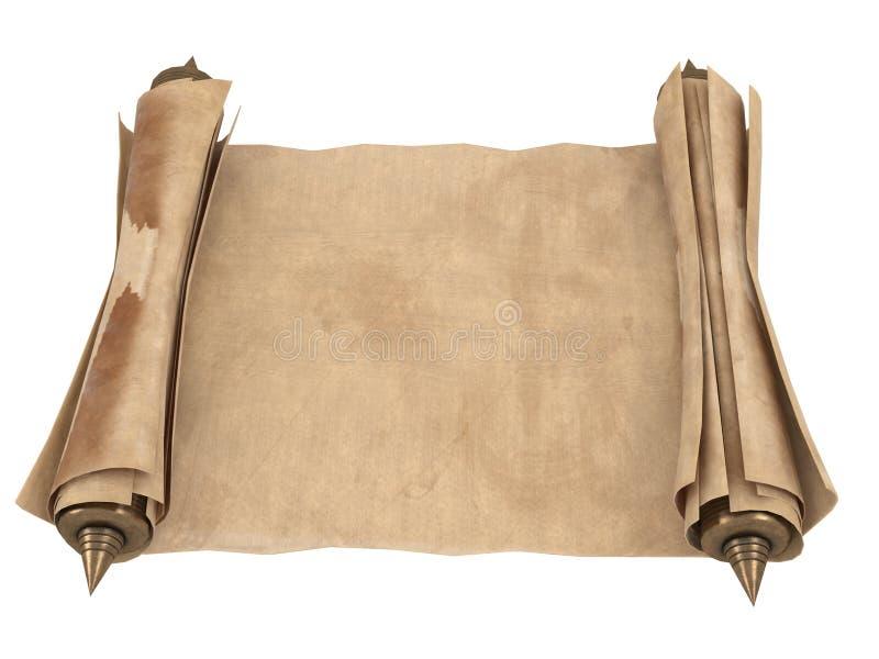 Κυλημένος παλαιός κύλινδρος εγγράφου που απομονώνεται σε ένα άσπρο υπόβαθρο τρισδιάστατη απεικόνιση ελεύθερη απεικόνιση δικαιώματος