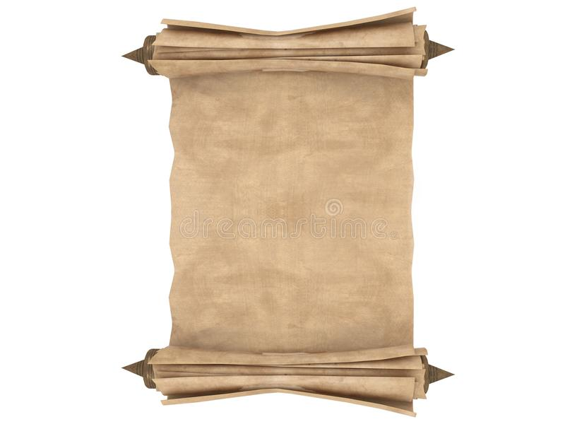 Κυλημένος παλαιός κύλινδρος εγγράφου που απομονώνεται σε ένα άσπρο υπόβαθρο τρισδιάστατη απεικόνιση διανυσματική απεικόνιση