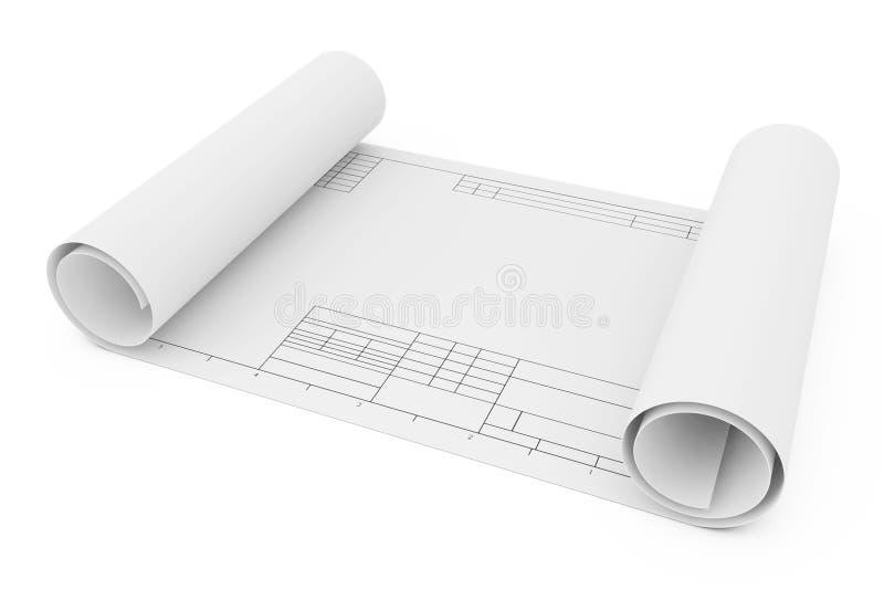 Κυλημένος σύροντας το έγγραφο προτύπων τρισδιάστατη απόδοση απεικόνιση αποθεμάτων