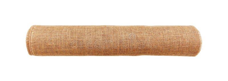 Κυλημένο επάνω sackcloth που απομονώνεται στο άσπρο υπόβαθρο με το ψαλίδισμα του ελαφριού κτυπήματος στοκ φωτογραφίες