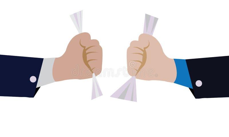 Κυλημένο λαβή έγγραφο δύο - χέρι ρυμούλκησης με το κυλημένο έγγραφο ελεύθερη απεικόνιση δικαιώματος