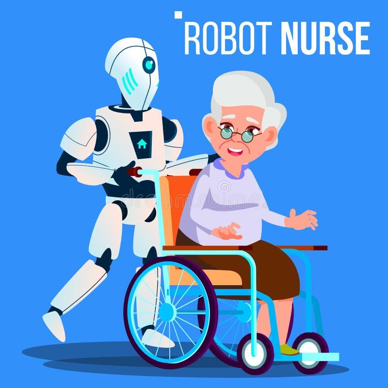 Κυλώντας αναπηρική καρέκλα νοσοκόμων ρομπότ με το ηλικιωμένο διάνυσμα γυναικών απομονωμένη ωθώντας s κουμπιών γυναίκα έναρξης χερ απεικόνιση αποθεμάτων