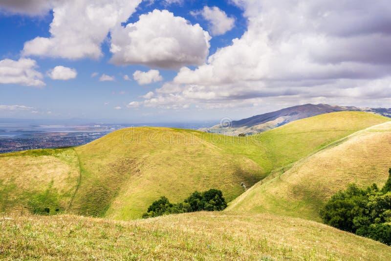 Κυλώντας λόφοι στην περιοχή κόλπων του νότιου Σαν Φρανσίσκο  περιοχή κόλπων του ανατολικού Σαν Φρανσίσκο ορατή στο υπόβαθρο  San  στοκ εικόνα με δικαίωμα ελεύθερης χρήσης