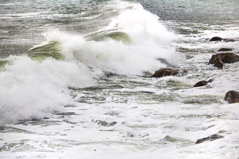 Κυλώντας συντρίβοντας κύματα στα χαλίκια σε μια παραλία στο Drive του Clarence, μεταξύ Kleinmond και του κόλπου Gordons, το δυτικ στοκ φωτογραφία με δικαίωμα ελεύθερης χρήσης