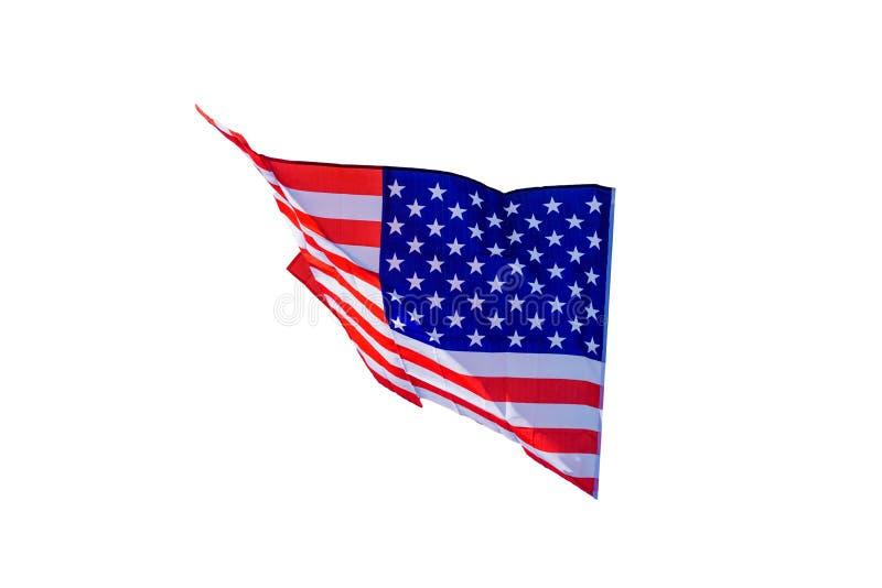 Κυματίζοντας αμερικανική σημαία που απομονώνεται στο άσπρο υπόβαθρο στοκ εικόνα με δικαίωμα ελεύθερης χρήσης
