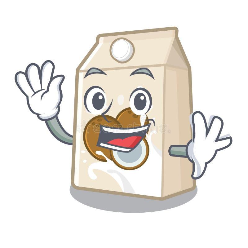 Κυματίζοντας γάλα καρύδων που απομονώνεται με το χαρακτήρα ελεύθερη απεικόνιση δικαιώματος