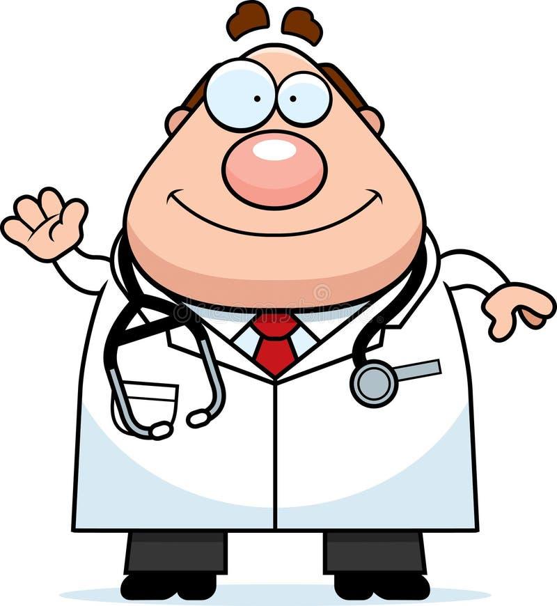 Κυματίζοντας γιατρός κινούμενων σχεδίων ελεύθερη απεικόνιση δικαιώματος