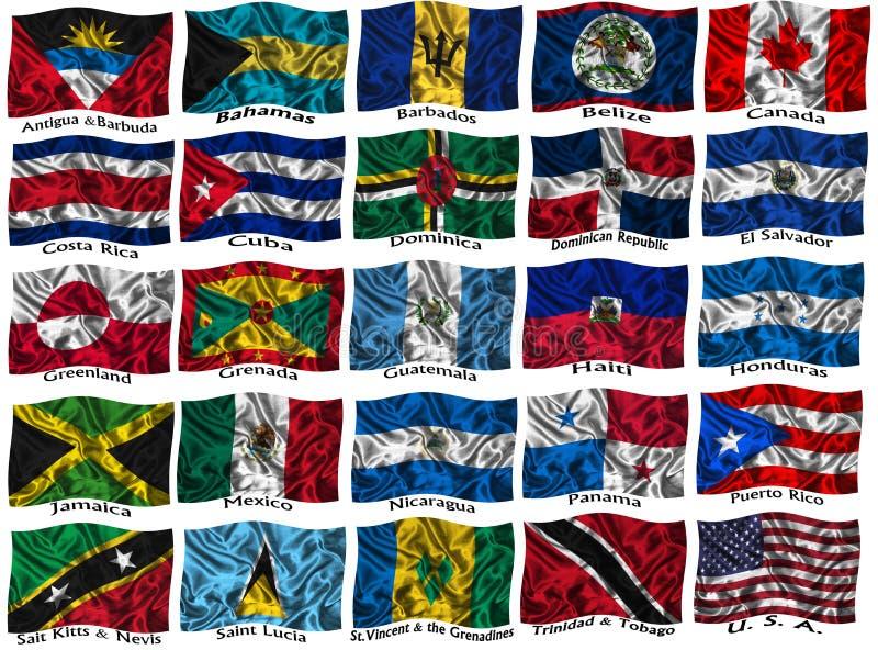 Κυματίζοντας ζωηρόχρωμες σημαίες της Βόρειας Αμερικής απεικόνιση αποθεμάτων