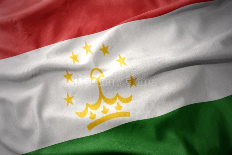 Κυματίζοντας ζωηρόχρωμη σημαία του Τατζικιστάν στοκ εικόνες