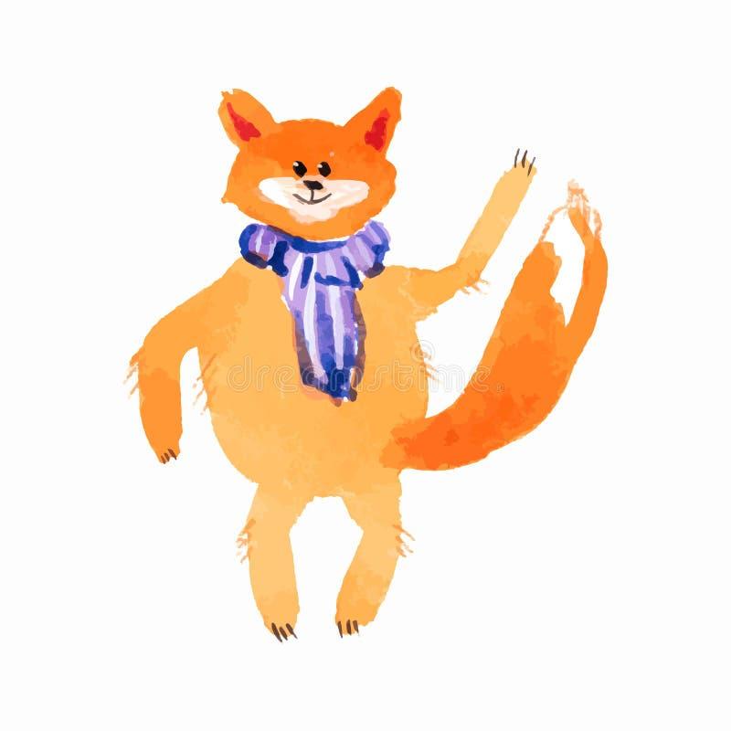 Κυματίζοντας κινούμενα σχέδια απεικόνισης τεχνικής watercolor ποδιών μαντίλι αλεπούδων διανυσματική απεικόνιση