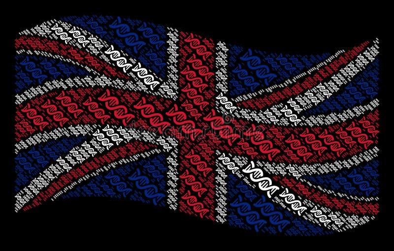 Κυματίζοντας κολάζ σημαιών της Μεγάλης Βρετανίας των σπειροειδών εικονιδίων DNA διανυσματική απεικόνιση