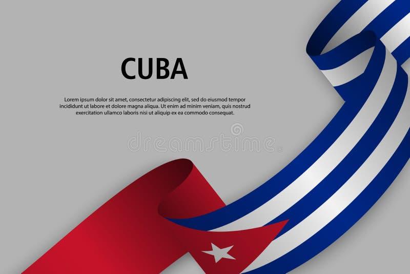 Κυματίζοντας κορδέλλα με τη σημαία της Κούβας, απεικόνιση αποθεμάτων
