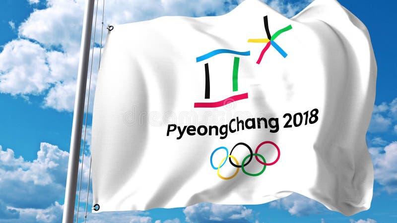 Κυματίζοντας σημαία με το λογότυπο 2018 χειμερινών Ολυμπιακών Αγώνων ενάντια στα σύννεφα και τον ουρανό Εκδοτική τρισδιάστατη από απεικόνιση αποθεμάτων