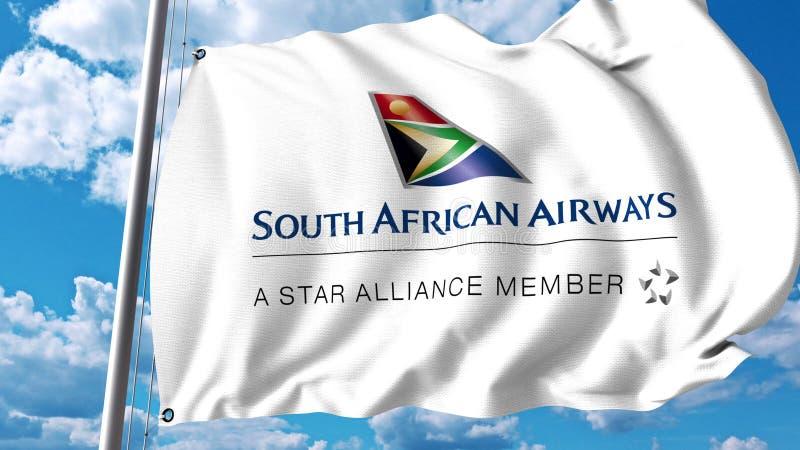 Κυματίζοντας σημαία με το λογότυπο της South African Airways τρισδιάστατη απόδοση διανυσματική απεικόνιση