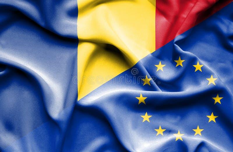 Κυματίζοντας σημαία της Ευρωπαϊκής Ένωσης και της Ρουμανίας διανυσματική απεικόνιση
