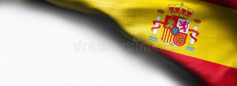Κυματίζοντας σημαία της Ισπανίας στο άσπρο υπόβαθρο - σωστή τοπ σημαία γωνιών στοκ εικόνες