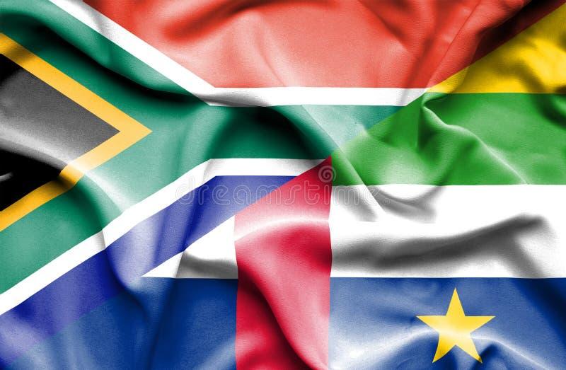 Κυματίζοντας σημαία της Κεντροαφρικανικής Δημοκρατίας και της Νότιας Αφρικής απεικόνιση αποθεμάτων