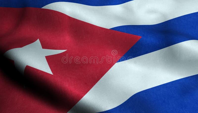Κυματίζοντας σημαία της Κούβας σε τρισδιάστατο διανυσματική απεικόνιση