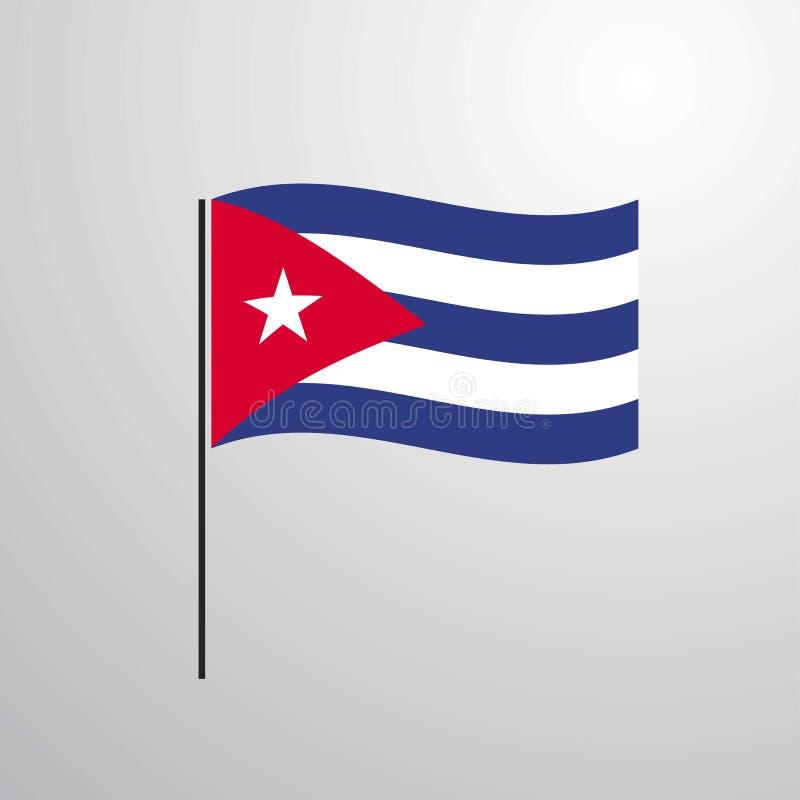 Κυματίζοντας σημαία της Κούβας διανυσματική απεικόνιση