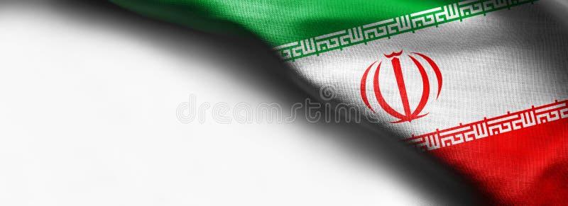 Κυματίζοντας σημαία του Ιράν στο άσπρο υπόβαθρο - σωστή τοπ σημαία γωνιών στοκ εικόνες
