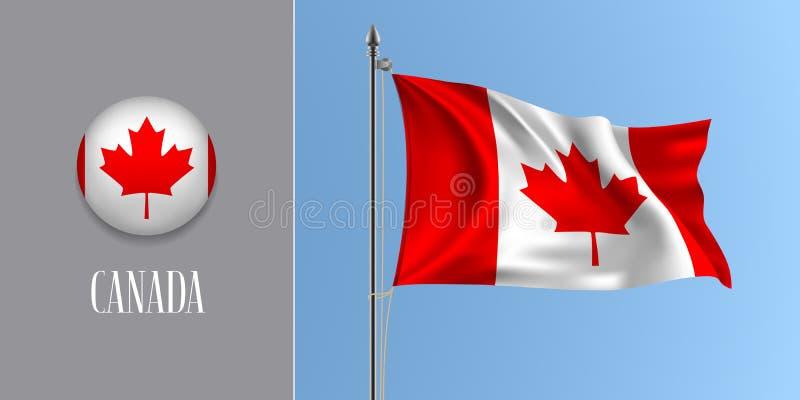 Κυματίζοντας σημαία του Καναδά στο κοντάρι σημαίας και τη στρογγυλή διανυσματική απεικόνιση εικονιδίων διανυσματική απεικόνιση