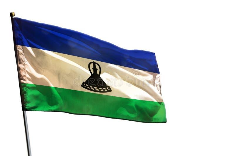 Κυματίζοντας σημαία του Λεσόθο που απομονώνεται στο άσπρο υπόβαθρο στοκ φωτογραφία