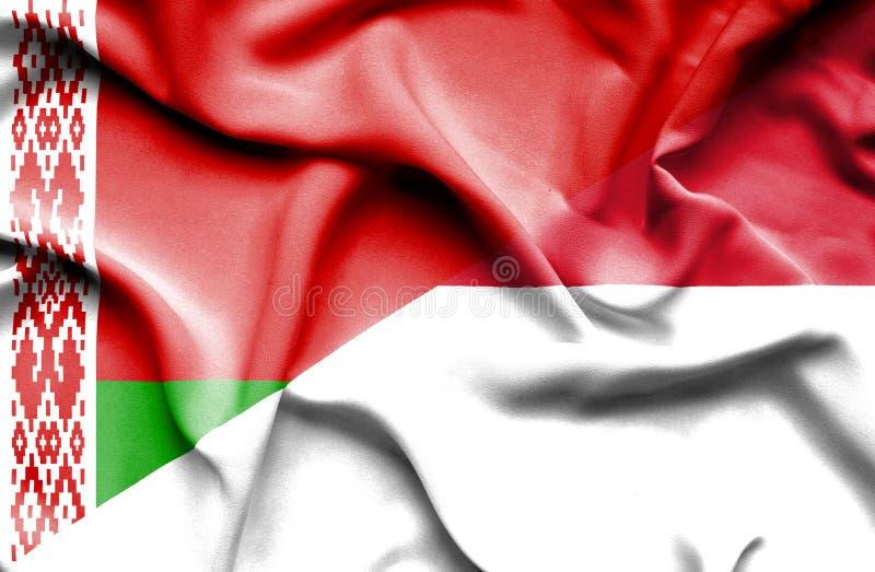 Κυματίζοντας σημαία του Μονακό και ελεύθερη απεικόνιση δικαιώματος