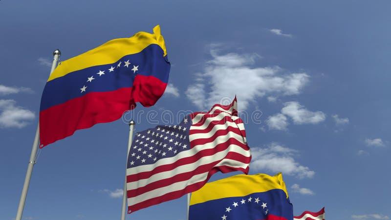 Κυματίζοντας σημαίες της Βενεζουέλας και των ΗΠΑ στο υπόβαθρο ουρανού, τρισδιάστατη απόδοση στοκ εικόνες