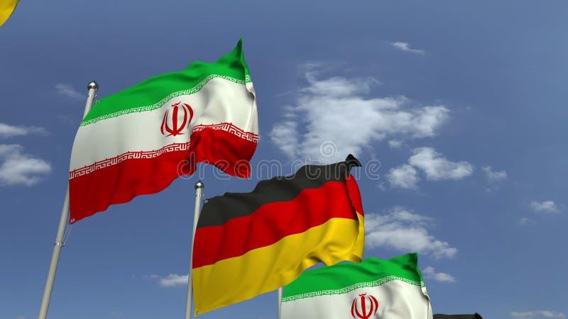 Κυματίζοντας σημαίες του Ιράν και της Γερμανίας στο υπόβαθρο ουρανού, τρισδιάστατη απόδοση στοκ εικόνες