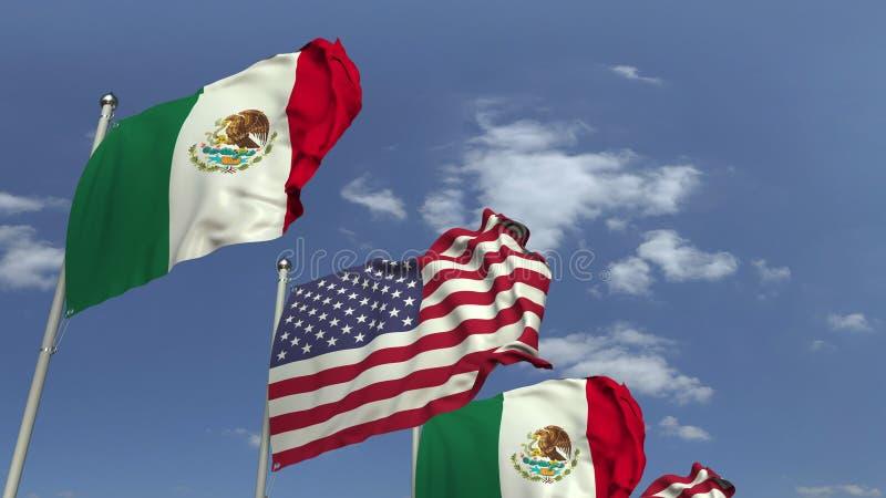 Κυματίζοντας σημαίες του Μεξικού και των ΗΠΑ στο υπόβαθρο ουρανού, τρισδιάστατη απόδοση στοκ φωτογραφία με δικαίωμα ελεύθερης χρήσης