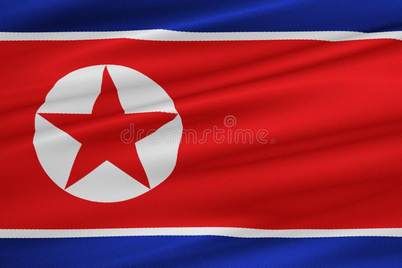 Κυματίζοντας υπόβαθρο υφάσματος σύστασης σημαιών Βόρεια Κορεών, κρίση της Κορέας Βορρά και Νότου, κορεατικός πόλεμος βομβών κινδύ στοκ φωτογραφίες