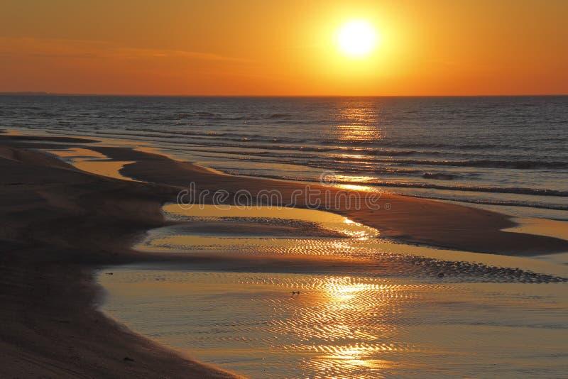 Κυματισμοί στην παραλία στο ηλιοβασίλεμα στοκ εικόνες