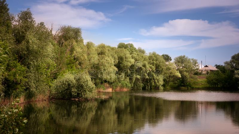 Κυματισμοί στον ποταμό στην ηλιόλουστη θερινή ημέρα στοκ εικόνες με δικαίωμα ελεύθερης χρήσης