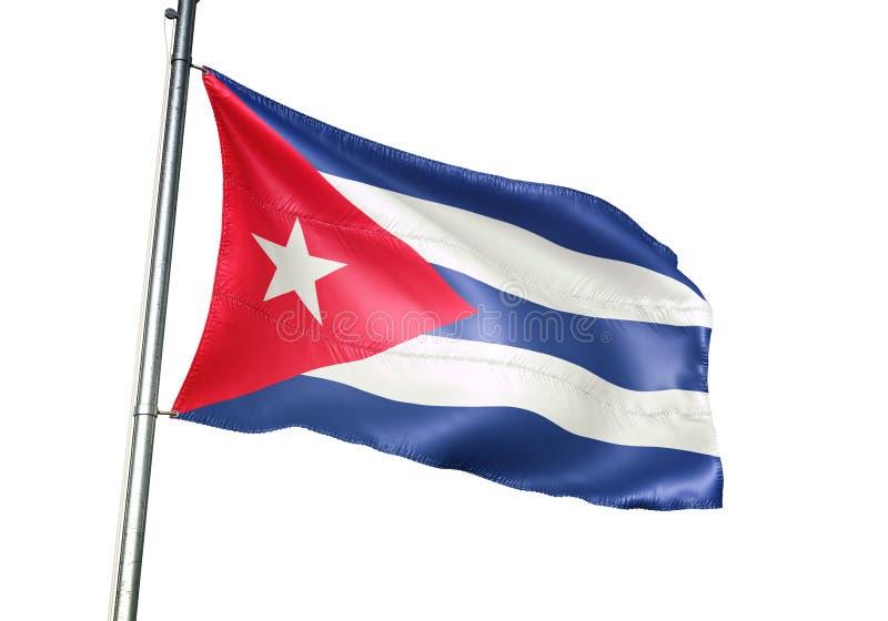 Κυματισμός εθνικών σημαιών της Κούβας που απομονώνεται στην άσπρη ρεαλιστική τρισδιάστατη απεικόνιση υποβάθρου απεικόνιση αποθεμάτων