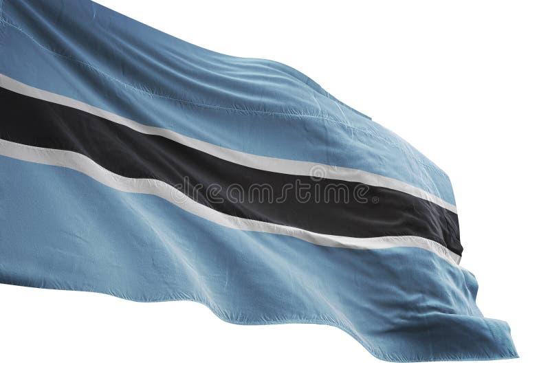 Κυματισμός εθνικών σημαιών της Μποτσουάνα που απομονώνεται στην άσπρη τρισδιάστατη απεικόνιση υποβάθρου διανυσματική απεικόνιση