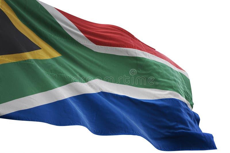 Κυματισμός εθνικών σημαιών της Νότιας Αφρικής που απομονώνεται στην άσπρη τρισδιάστατη απεικόνιση υποβάθρου διανυσματική απεικόνιση