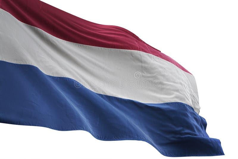 Κυματισμός ολλανδικών εθνικών σημαιών που απομονώνεται στην άσπρη τρισδιάστατη απεικόνιση υποβάθρου απεικόνιση αποθεμάτων