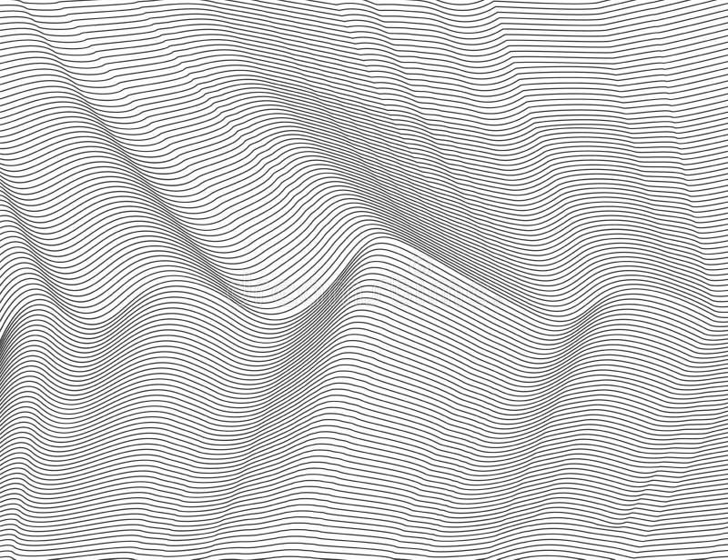 Κυματιστές αφηρημένες σκοτεινές γραμμές Διανυσματικό σχέδιο λωρίδων σύστασης, απομονωμένο άσπρο υπόβαθρο Ικανός να επιστρώσει, εύ απεικόνιση αποθεμάτων