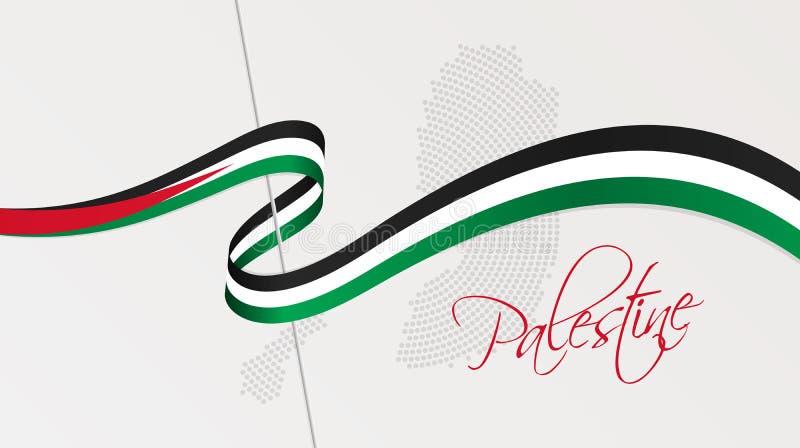 Κυματιστή εθνική σημαία και ακτινωτός διαστιγμένος ημίτονος χάρτης της Παλαιστίνης διανυσματική απεικόνιση