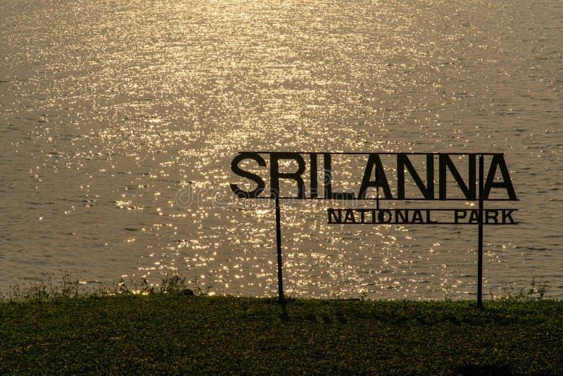 Κυματιστή επιφάνεια νερού με το ακτινοβολώντας φως ήλιων το πρωί με τη σκιαγραφία του σημαδιού του εθνικού πάρκου Srilanna στοκ εικόνες