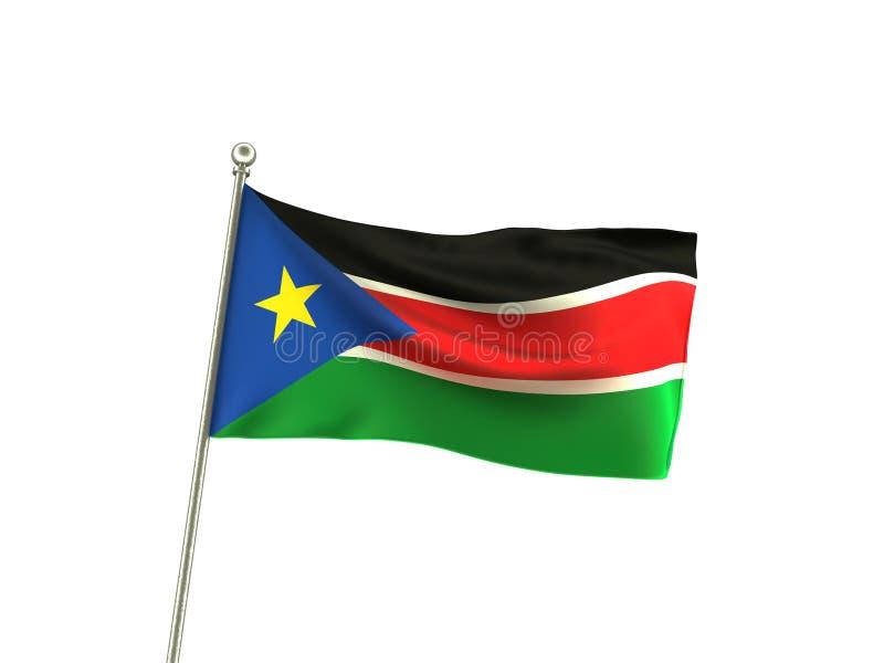 Κυματιστή σημαία του Νότιου Σουδάν διανυσματική απεικόνιση