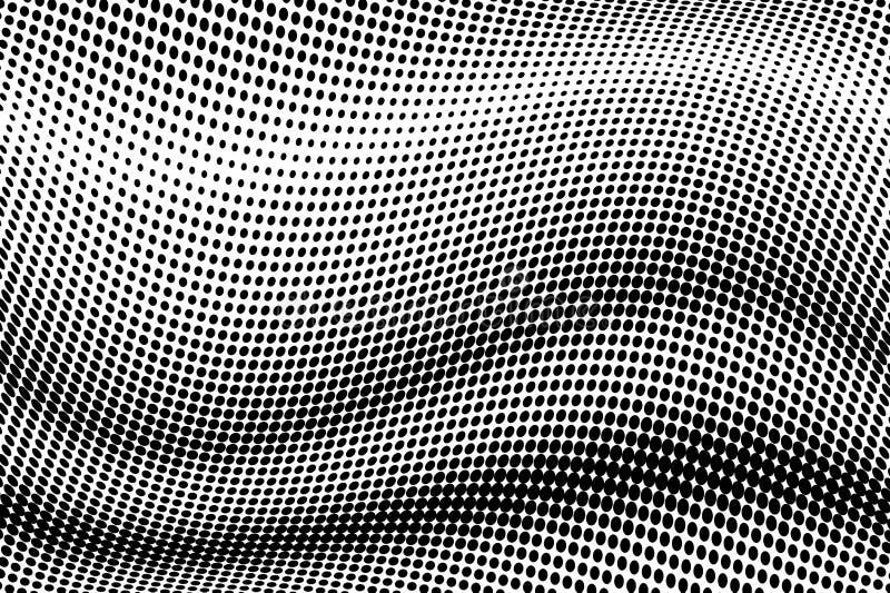 Κυματιστό ημίτονο υπόβαθρο Κωμικό διαστιγμένο σχέδιο λαϊκό ύφος τέχνης Σκηνικό με τους κύκλους, σημεία, στοιχείο σχεδίου κύκλων διανυσματική απεικόνιση