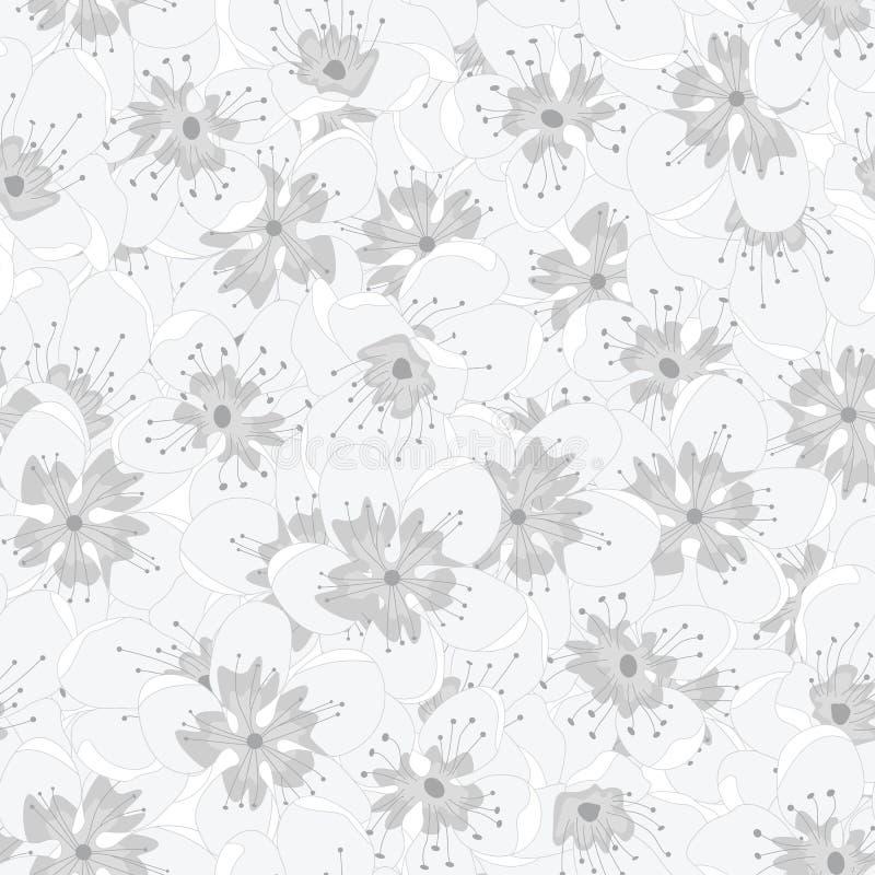 Κυματοειδές μοτίβο επανάληψης με επικάλυψη γκρι ανθέων σε λευκό φόντο Φόντο για υφάσματα, κάρτες ελεύθερη απεικόνιση δικαιώματος