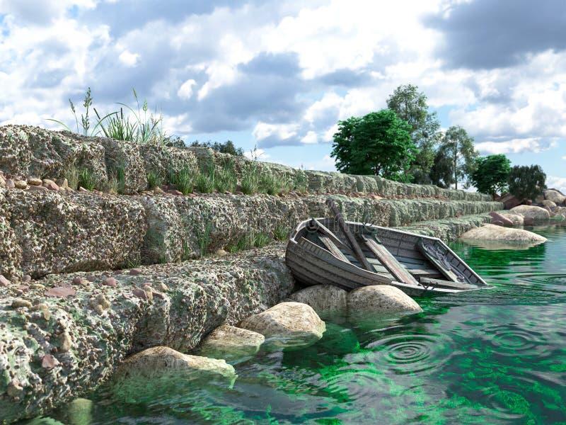 Κυματοθραύστης με τις πύλες και το παλαιό αλιευτικό σκάφος στοκ εικόνες