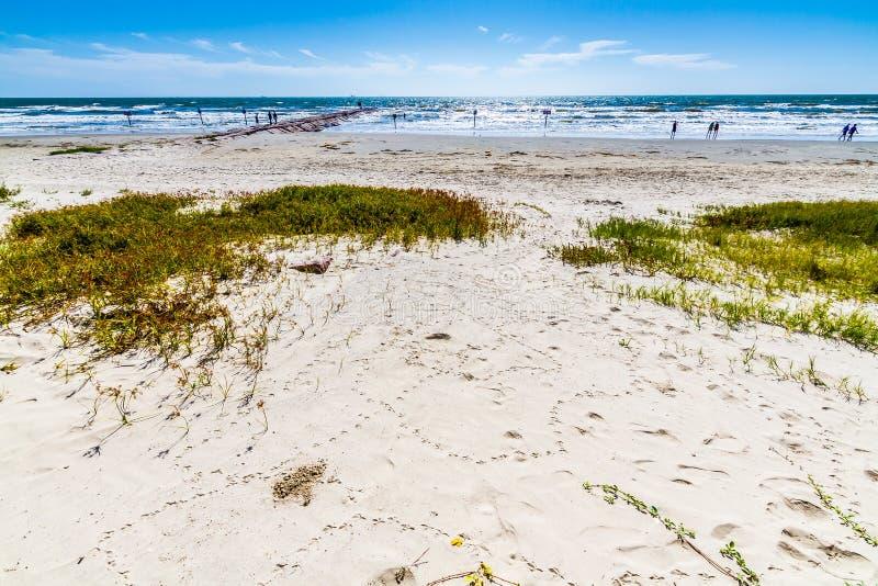Κυματωγή και άμμος σε μια ωκεάνια παραλία σε Galveston στοκ φωτογραφία με δικαίωμα ελεύθερης χρήσης