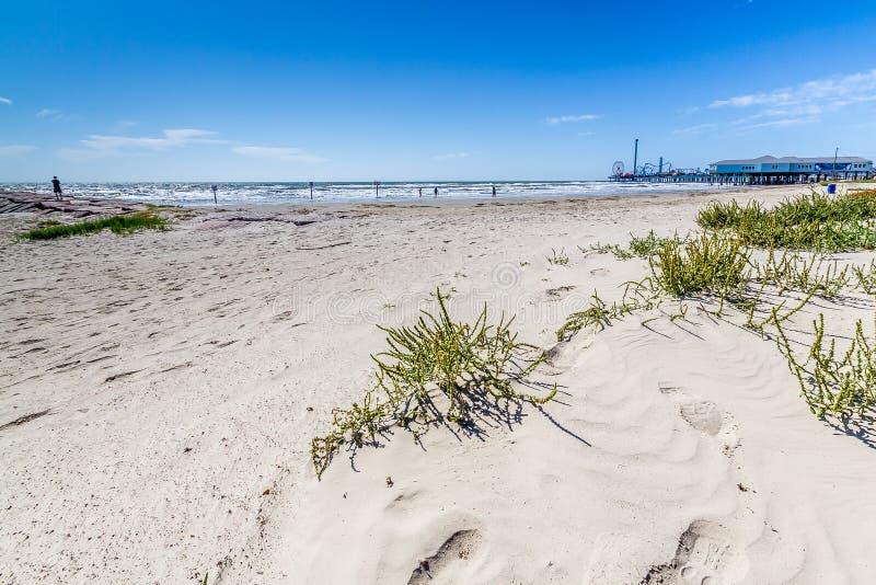 Κυματωγή και άμμος της παραλίας Galveston με το θαλάσσιο περίπατο στην απόσταση στοκ φωτογραφία