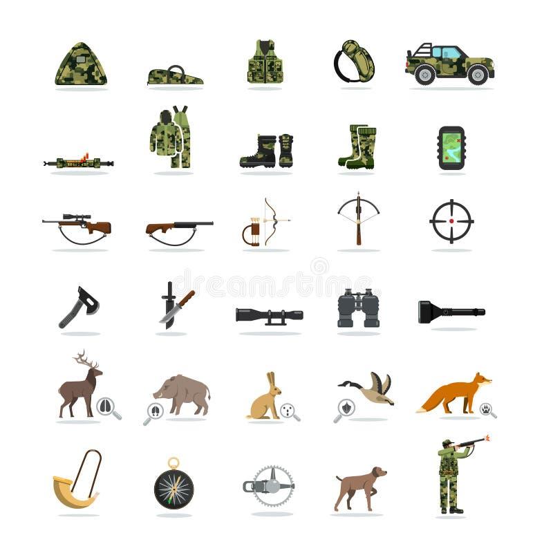 Κυνήγι και σύνολο εξοπλισμού επίπεδων εικονιδίων διανυσματική απεικόνιση