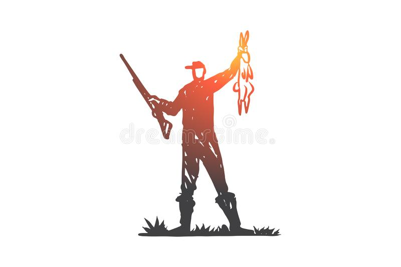 Κυνήγι, πυροβολισμός, τουφέκι, θήραμα, άγρια έννοια Συρμένο χέρι απομονωμένο διάνυσμα απεικόνιση αποθεμάτων