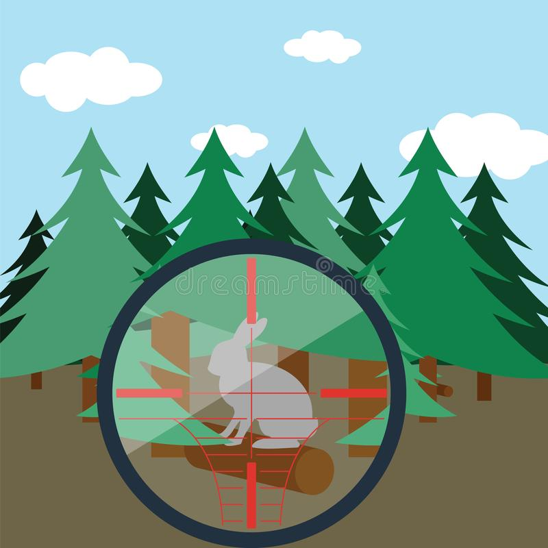 Κυνήγι στο δάσος έλατου ελεύθερη απεικόνιση δικαιώματος