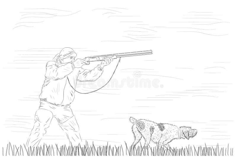 Κυνηγός με το σκυλί διανυσματική απεικόνιση
